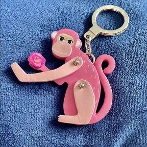 Kate Spade Pink Monkey Key Fob Chain Keychain